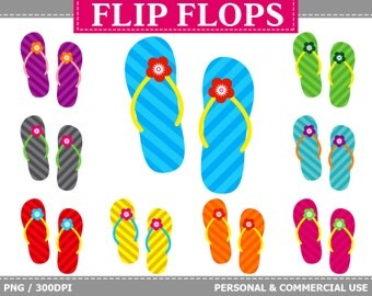 70% OFF SALE 9 Digital Striped Flip Flops Clipart Stripes, Sandals, Beach, Colorful Flip Flops Clip Art
