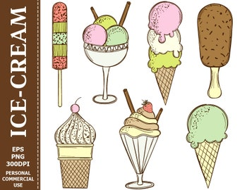 70% OFF SALE Doodle Colorful Ice Cream Clip Art - Cream, Cupcake, Сhoc-Ice, Glass Ice Cream Clip Art