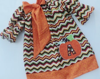 Chevron Initial Pumpkin Peasant Dress Pick Your Initial
