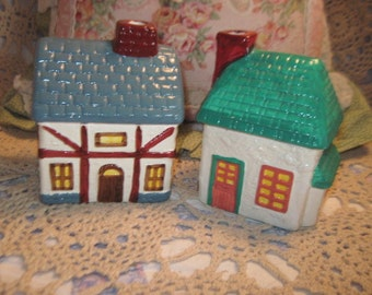 House, Little House, Train Sets, Miniture Town, Set of Two Little Country  Houses ,Vintage Knick Knacks, Collectiable House,   :) 2