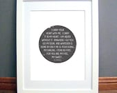 I Carry Your Heart Printable Wall Art, Circle Design, Charcoal Grey, Love Quote, EE Cummings, Downloadable pdf
