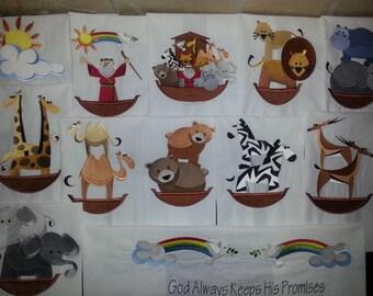 13 Embroidered Noah's Ark Quilt Blocks