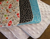 Puppy Dog Burp Cloth Set, White Minky, Baby Boy or Girl, Puppies Burpcloths, Newborn Gift, Turquoise, Black and White Dog Bones, Bow Wow