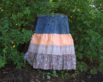 Upcycled women's jean skirt