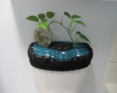 Crochet Toilet Tank Lid Cover - black/real teal (TTL6C)