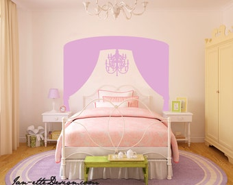 Girls Room Fabric Wall Decal, Chandelier Canopy Fabric Wall Decal,Princess Canopy Wall Decal,Removable and Repositionable Fabric Decal