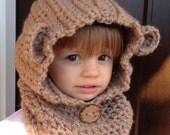 Children's bear hat, hooded scarf, bear cowl, children's hooded cowl, children's hooded scarf