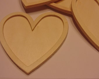 3 Large wood hearts, 75 x 80 mm