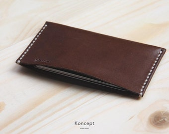 Leather Cardholder - Premium Italian Full Grain Leather - Ultra Slim Wallet - Chocolate Brown