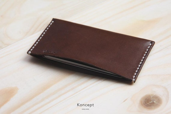 Personalized Leather Cardholder, Premium Italian Full Grain Leather, Ultra Slim Wallet, Chocolate Brown, Free Shipping