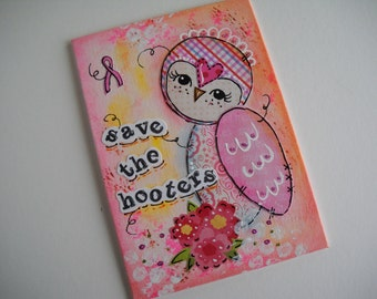 owl breast cancer awareness save the hooters  handmade original art mixed media art canvas painting collage art whimsical quotes wall art