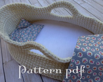 PDF Pattern - Crocheted Doll Moses Basket