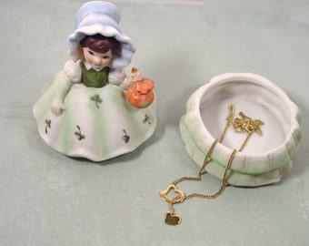 Cute Brinns ceramic girl or lady figurine and trinket box