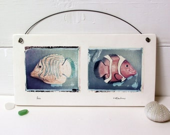 Whimsical Fish Art.  Polaroid Transfers Printed on Fired Ceramic Slab. Toy Fish.  Clownfish.  Nemo.  Hand Made.