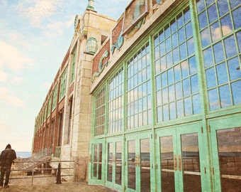 Asbury Park Photo, Jersey Shore, Convention Center, Architecture Print, reflections, green doors