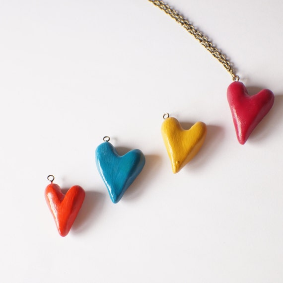 Valentines Day Gift Idea - Necklace with Heart Charm - Variety of colours