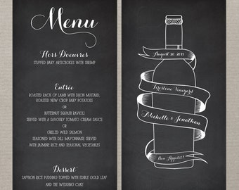 Wine Bottle Chalkboard Inspired Wedding Menu Black menu card with wine bottle and banner