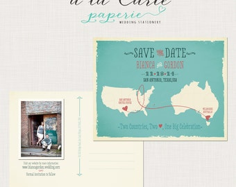 Save the Date Postcard Destination Two Countries, Two Hearts, One Big Celebration bilingual wedding invitation