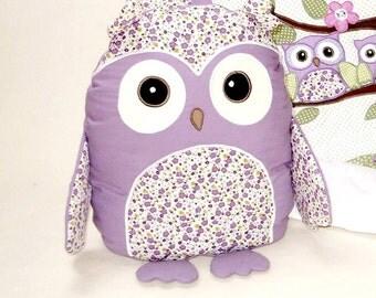 Organic Owl, Custom Stuffed Owl Pillow,  Baby Shower Gift, Purple Nursery Decoration