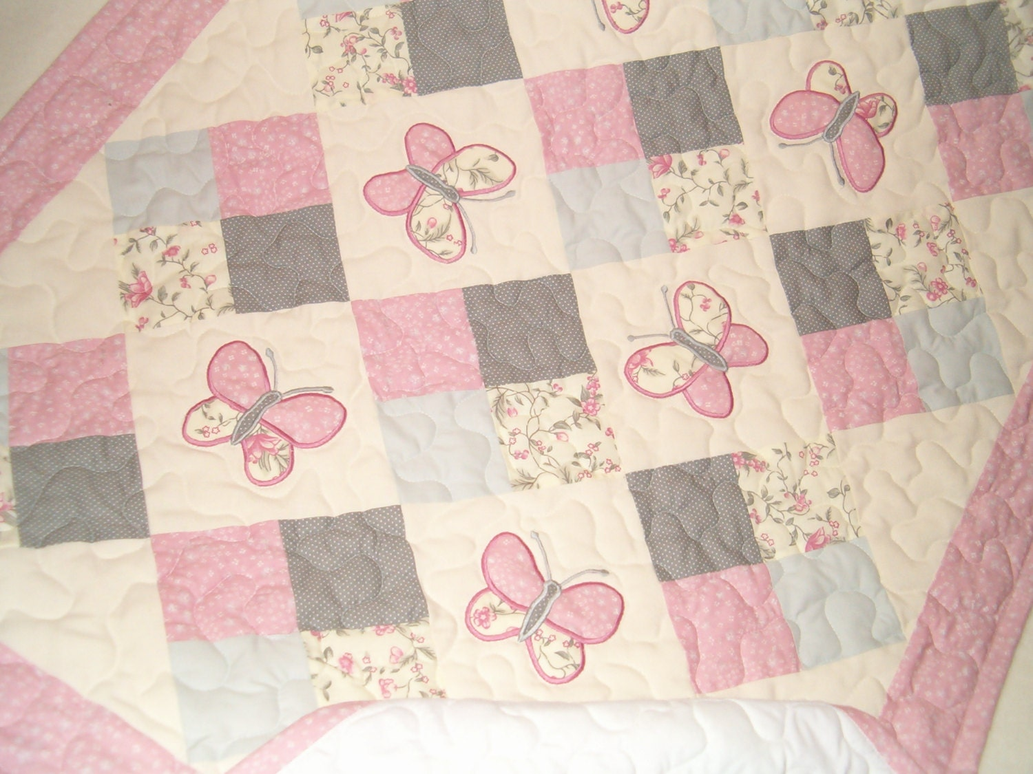 Baby Quilt Pink Grey Baby Quilt Butterfly By Customquiltsbyeva