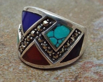 Sterling Silver Marcasite and Gemstone inlay ring