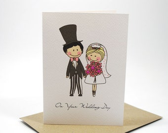 Wedding Card Congratulations - Bride and Groom with Pink Flowers - WED032