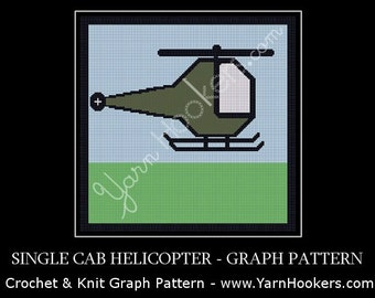 Single Cab Helicopter -  Afghan Crochet Graph Pattern Chart - Instant Download