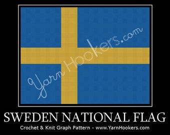 Sweden National Flag - Afghan Crochet Graph Pattern Chart - Instant Download