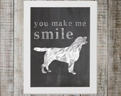 Labrador Retriever 'you make me smile' Chalkboard Print