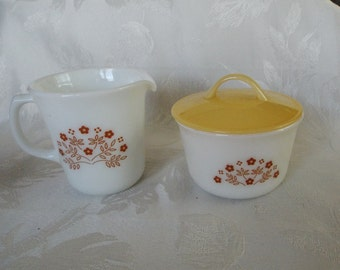 1980s Correlle Sugar Bowl and Creamer Summer Impressions Pattern