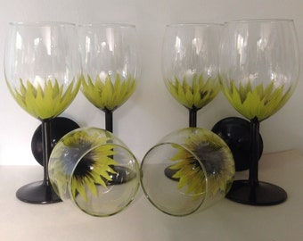 Wedding Anniversary Brides Maid  Party Hand Painted Wine Glasses set of 6 Lime Green