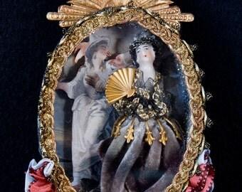 Rare antique European  porcelain doll in a diorama
