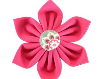 Pink Gray Dog Collar Flower/ Wedding Dog Flower/ Collar Attachment: Rose Suzani