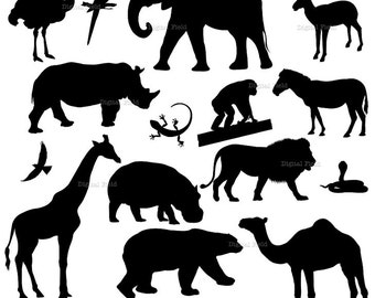 Animal silhouette clip art set 1 - wild animal printable digital clipart - instant download
