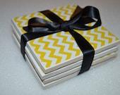 Yellow Chevron. Super Cute Coasters. Set of 4.