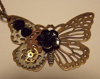 CLEARANCE!!! Steampunk Butterfly Clockwork Necklace- Black Plumeria