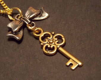 Gold and Silver Skeleton Key Necklace