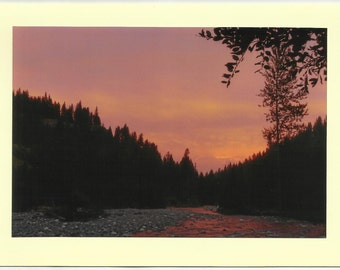 SUNSET on EAGLE CREEK No 3 / Original Outdoor Scenery on Blank Photo Card Twin Fold Design - Local Artist Photography