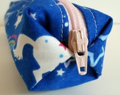 Pencil Case, Pencil Pouch, School Supply – Unicorn Japanese Fabric  - Toiletry & Cosmetics Bag
