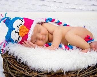 Newborn Baby Girl Owl Beanie