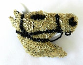 Horse white sequins and black beads Vintage Brooch