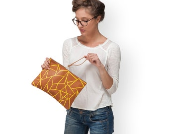 Brown leather purse, Origami Print, leather fold over clutch