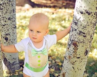 Bright Green, Silver, and White Baby Boy Tuxedo Bodysuit
