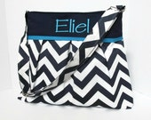 Large Chevron Diaper Bag and Changing Pad in Navy Blue and Your Choice of Lining with Monogramming