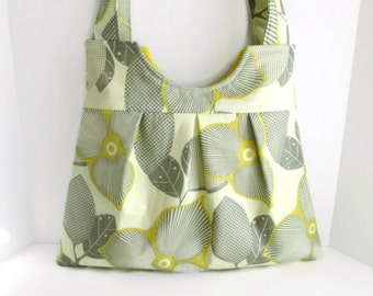Pleated Diaper Bag or Purse Optic Blossom with Yellow Lining