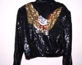 Womens Vintage Sequin Black Shoulder Pads 100% SILK Jacket Eagle Embellished Medium