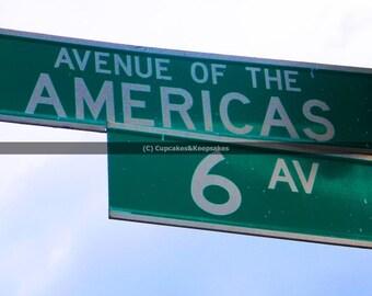 "New York ""Avenue of the Americas"" Street Sign Fine Art Photograph"