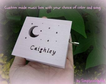 music box, moon and stars, musical box, music boxes, wooden music box, custom music box, musicbox, personalized music box, simplycoolgifts