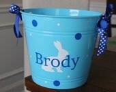 Personalized Easter Basket - plastic bucket, vinyl, teachers gift, bridal shower, baby shower, monogram, polka dots