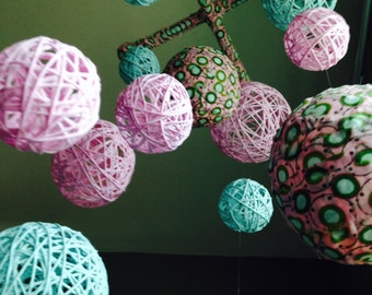 Pink and Green Yarn Ball Baby Mobile